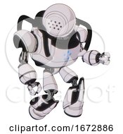 Bot Containing Dots Array Face And Heavy Upper Chest And Circle Of Blue Leds And Light Leg Exoshielding And Stomper Foot Mod White Halftone Toon Fight Or Defense Pose