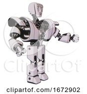 Droid Containing Humanoid Face Mask And Binary War Paint And Heavy Upper Chest And Heavy Mech Chest And Prototype Exoplate Legs White Halftone Toon Interacting