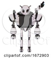 Mech Containing Grey Alien Style Head And Black Eyes And Bug Antennas And Heavy Upper Chest And Chest Vents And Ultralight Foot Exosuit White Halftone Toon Front View
