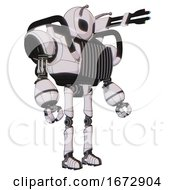 Mech Containing Grey Alien Style Head And Black Eyes And Bug Antennas And Heavy Upper Chest And Chest Vents And Ultralight Foot Exosuit White Halftone Toon Facing Left View