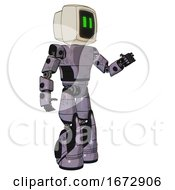 Robot Containing Old Computer Monitor And Pixel Line Eyes And Light Chest Exoshielding And Prototype Exoplate Chest And Light Leg Exoshielding And Stomper Foot Mod Matted Pink Metal Interacting