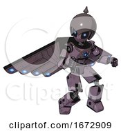 Cyborg Containing Grey Alien Style Head And Electric Eyes And Gray Helmet And Light Chest Exoshielding And Blue Energy Core And Cherub Wings Design And Prototype Exoplate Legs Lilac Metal