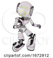 Droid Containing Round Head And Green Eyes Array And Light Chest Exoshielding And Ultralight Chest Exosuit And Light Leg Exoshielding And Stomper Foot Mod White Halftone Toon Fight Or Defense Pose