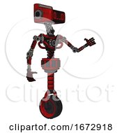 Bot Containing Dual Retro Camera Head And Clock Radio Head And Light Chest Exoshielding And No Chest Plating And Unicycle Wheel Red Blood Grunge Material Interacting