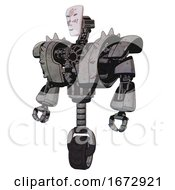 Automaton Containing Humanoid Face Mask And Die Robots Graffiti Design And Heavy Upper Chest And Heavy Mech Chest And Shoulder Spikes And Unicycle Wheel Unpainted Metal