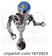 Android Containing Grey Alien Style Head And Black Eyes And Lightning Bolts And Blue Helmet And Heavy Upper Chest And No Chest Plating And Unicycle Wheel Sketch Pad Doodle Lines