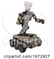 Automaton Containing Humanoid Face Mask And Light Chest Exoshielding And Blue Energy Core And Six Wheeler Base Grungy Fiberglass Fight Or Defense Pose