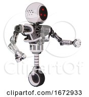 Bot Containing Three Led Eyes Round Head And Heavy Upper Chest And No Chest Plating And Unicycle Wheel White Halftone Toon Interacting