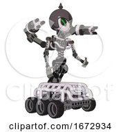 Cyborg Containing Grey Alien Style Head And Green Demon Eyes And Gray Helmet And Light Chest Exoshielding And Minigun Back Assembly And No Chest Plating And Six Wheeler Base White Halftone Toon