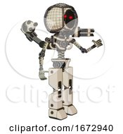 Poster, Art Print Of Robot Containing Round Barbed Wire Round Head And Light Chest Exoshielding And Minigun Back Assembly And No Chest Plating And Prototype Exoplate Legs Off White Toon Interacting