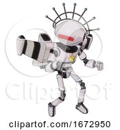 Bot Containing Oval Wide Head And Red Horizontal Visor And Techno Halo Ornament And Light Chest Exoshielding And Yellow Star And Stellar Jet Wing Rocket Pack And Ultralight Foot Exosuit