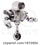 Cyborg Containing Cable Connector Head And Heavy Upper Chest And Heavy Mech Chest And Green Cable Sockets Array And Unicycle Wheel White Halftone Toon Interacting