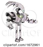 Automaton Containing Flat Elongated Skull Head And Heavy Upper Chest And Heavy Mech Chest And Green Energy Core And Ultralight Foot Exosuit White Halftone Toon Interacting