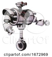 Android Containing Dual Retro Camera Head And Simple Blue Telescopic Eye Head And Heavy Upper Chest And Heavy Mech Chest And Barbed Wire Chest Armor Cage And Unicycle Wheel White Halftone Toon