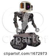Robot Containing Old Computer Monitor And Magenta Symbol Display And Old Retro Speakers And Heavy Upper Chest And No Chest Plating And Tank Tracks Light Pink Beige Facing Left View