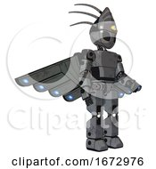 Droid Containing Grey Alien Style Head And Black Eyes And Eyeball Creature Crown And Light Chest Exoshielding And Prototype Exoplate Chest And Cherub Wings Design And Prototype Exoplate Legs