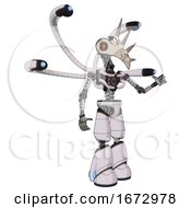 Droid Containing Bird Skull Head And Red Line Eyes And Light Chest Exoshielding And Blue Eye Cam Cable Tentacles And No Chest Plating And Light Leg Exoshielding White Halftone Toon Interacting