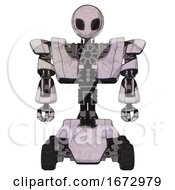 Droid Containing Grey Alien Style Head And Black Eyes And Heavy Upper Chest And Heavy Mech Chest And Six Wheeler Base Sketch Pad Light Front View