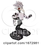 Android Containing Bird Skull Head And Red Led Circle Eyes And Bird Feather Design And Light Chest Exoshielding And Prototype Exoplate Chest And Rocket Pack And Tank Tracks White Halftone Toon