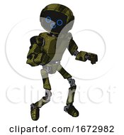 Droid Containing Digital Display Head And Woo Expression And Light Chest Exoshielding And Prototype Exoplate Chest And Ultralight Foot Exosuit Grunge Army Green Fight Or Defense Pose
