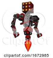 Automaton Containing Dual Retro Camera Head And Cube Array Head And Heavy Upper Chest And No Chest Plating And Jet Propulsion Red Blood Grunge Material Hero Pose