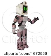 Android Containing Old Computer Monitor And Pixel Line Eyes And Retro Futuristic Webcam And Light Chest Exoshielding And Chest Green Blue Lights Array And Prototype Exoplate Legs Grayish Pink