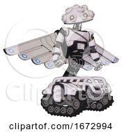 Automaton Containing Techno Multi Eyed Domehead Design And Light Chest Exoshielding And Cable Sash And Cherub Wings Design And Tank Tracks White Halftone Toon Hero Pose