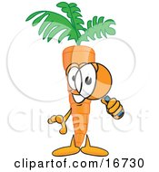 Orange Carrot Mascot Cartoon Character Inspecting And Peering Through A Magnifying Glass