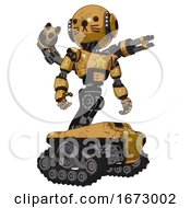 Poster, Art Print Of Automaton Containing Round Head And Head Light Gadgets And Light Chest Exoshielding And Yellow Star And Minigun Back Assembly And Tank Tracks And Cat Face Construction Yellow Halftone Hero Pose
