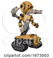 Poster, Art Print Of Automaton Containing Round Head And Head Light Gadgets And Light Chest Exoshielding And Yellow Star And Minigun Back Assembly And Tank Tracks And Cat Face Construction Yellow Halftone