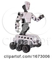 Android Containing Humanoid Face Mask And Light Chest Exoshielding And Prototype Exoplate Chest And Six Wheeler Base White Halftone Toon Interacting