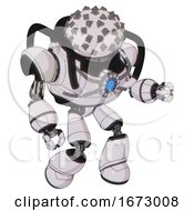 Robot Containing Metal Cubes Dome Head Design And Heavy Upper Chest And Chest Blue Energy Core And Light Leg Exoshielding White Halftone Toon Fight Or Defense Pose