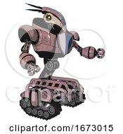Mech Containing Bird Skull Head And Yellow Led Protruding Eyes And Head Shield Design And Heavy Upper Chest And Blue Shield Defense Design And Tank Tracks Grayish Pink Interacting