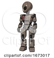 Robot Containing Grey Alien Style Head And Black Eyes And Light Chest Exoshielding And Red Energy Core And Prototype Exoplate Legs Patent Khaki Metal Standing Looking Right Restful Pose