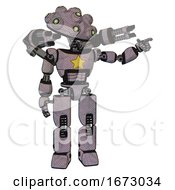 Android Containing Techno Multi Eyed Domehead Design And Light Chest Exoshielding And Yellow Star And Minigun Back Assembly And Prototype Exoplate Legs Dark Sketch