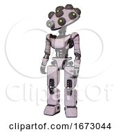 Bot Containing Many Robo Eye Domehead Design And Light Chest Exoshielding And Ultralight Chest Exosuit And Prototype Exoplate Legs Sketch Pad Dots Pattern Standing Looking Right Restful Pose