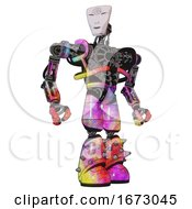 Poster, Art Print Of Android Containing Humanoid Face Mask And Spiral Design And Heavy Upper Chest And No Chest Plating And Light Leg Exoshielding And Spike Foot Mod Plasma Burst Hero Pose