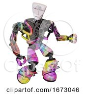 Poster, Art Print Of Android Containing Humanoid Face Mask And Spiral Design And Heavy Upper Chest And No Chest Plating And Light Leg Exoshielding And Spike Foot Mod Plasma Burst Fight Or Defense Pose