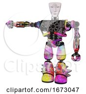 Poster, Art Print Of Android Containing Humanoid Face Mask And Spiral Design And Heavy Upper Chest And No Chest Plating And Light Leg Exoshielding And Spike Foot Mod Plasma Burst Arm Out Holding Invisible Object