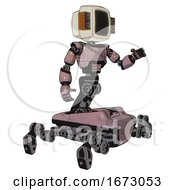 Droid Containing Old Computer Monitor And Old Retro Speakers And Light Chest Exoshielding And Cable Sash And Insect Walker Legs Grayish Pink Interacting