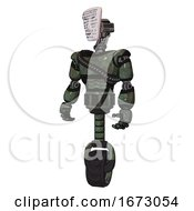 Cyborg Containing Humanoid Face Mask And Binary War Paint And Light Chest Exoshielding And Rubber Chain Sash And Unicycle Wheel Old Corroded Copper Standing Looking Right Restful Pose