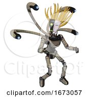 Robot Containing Humanoid Face Mask And Two Face Black White Mask And Light Chest Exoshielding And Ultralight Chest Exosuit And Blue Eye Cam Cable Tentacles And Ultralight Foot Exosuit