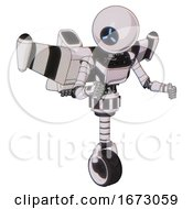 Robot Containing Dual Retro Camera Head And Three Dash Cyclops Round Head And Light Chest Exoshielding And Ultralight Chest Exosuit And Stellar Jet Wing Rocket Pack And Unicycle Wheel