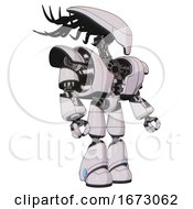 Android Containing Flat Elongated Skull Head And Cables And Heavy Upper Chest And Heavy Mech Chest And Light Leg Exoshielding White Halftone Toon Facing Left View