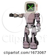 Bot Containing Old Computer Monitor And Pixel X And Red Buttons And Light Chest Exoshielding And Prototype Exoplate Chest And Light Leg Exoshielding And Stomper Foot Mod Gray Metal