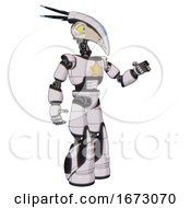 Automaton Containing Bird Skull Head And Big Yellow Eyes And Head Shield Design And Light Chest Exoshielding And Yellow Star And Light Leg Exoshielding And Stomper Foot Mod White Halftone Toon