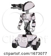 Android Containing Gatling Gun Face Design And Light Chest Exoshielding And Chest Valve Crank And Six Wheeler Base White Halftone Toon Standing Looking Right Restful Pose