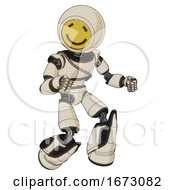 Robot Containing Round Head Yellow Happy Face And Light Chest Exoshielding And Cable Sash And Light Leg Exoshielding And Stomper Foot Mod Off White Toon Fight Or Defense Pose
