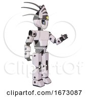 Android Containing Grey Alien Style Head And Electric Eyes And Eyeball Creature Crown And Light Chest Exoshielding And Prototype Exoplate Chest And Prototype Exoplate Legs White Halftone Toon