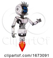 Cyborg Containing Digital Display Head And Hashtag Face And Eye Lashes Deco And Light Chest Exoshielding And Ultralight Chest Exosuit And Jet Propulsion White Halftone Toon Interacting